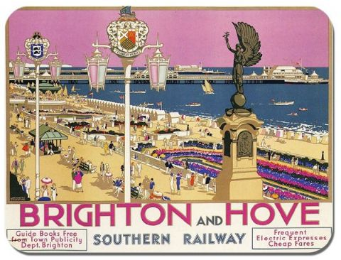 Brighton & Hove Vintage Railway Poster Mouse Mat. Train Travel Quality Mouse Pad